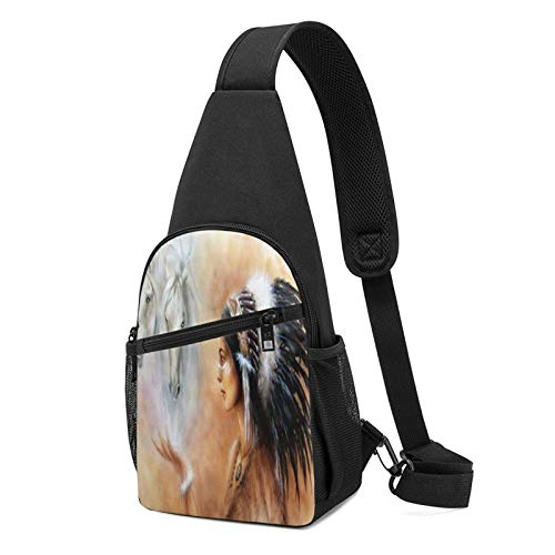 DJNGN Hermosa aerógrafo que pinta el pecho de la mochila del pecho indio nativo joven Mochila ultraligera