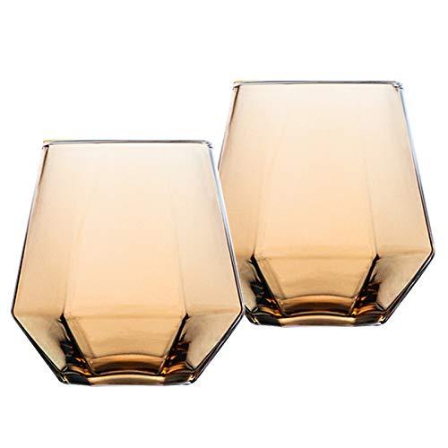 Vasos de whisky (2 unidades, 300 ml), color ámbar