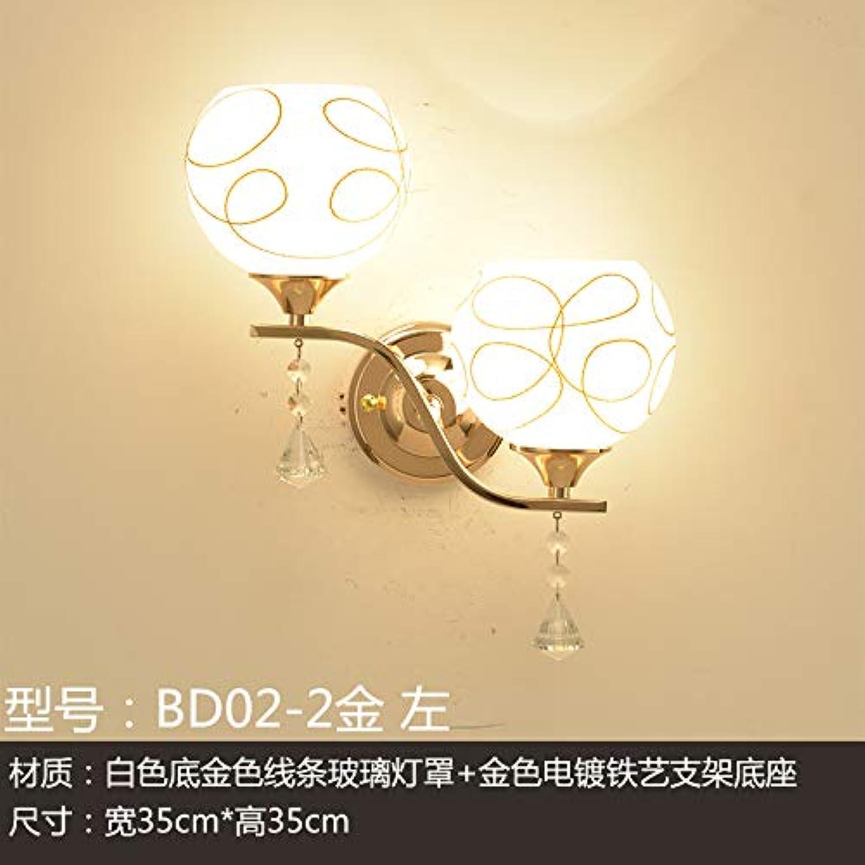 Wandleuchte Wandleuchte LED Balkon Wandleuchte Treppe Gang Wohnzimmer Nachtwandlampe Moderne Schlafzimmer einfache Nachttischlampe, BD02-2 Gold links