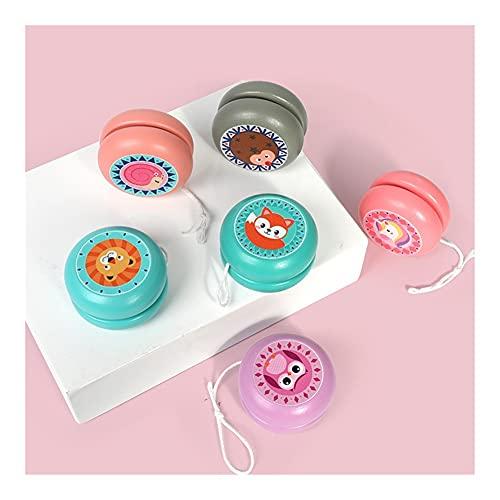 Lindo Animal impresión de Madera yoyo Juguetes Ladybug Juguete niños yo-yo Creativo Dibujos Animados Unicornio Unicornio tu yo Juguetes para niños 6 cm de Madera yo yo yo Bola (Color : Blue Fox)