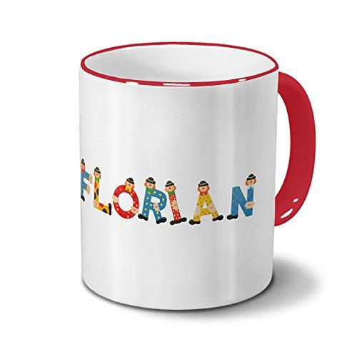 printplanet Tasse mit Namen Florian - Motiv Holzbuchstaben - Namenstasse, Kaffeebecher, Mug, Becher, Kaffeetasse - Farbe Rot