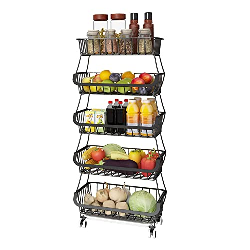 Apsan 5 Tier Fruit Basket for Kitchen, Fruit and Vegetable Storage Cart, Wire Storage Basket with Wheels, Vegetable Basket Bins Rack for Onions and Potatoes, Black