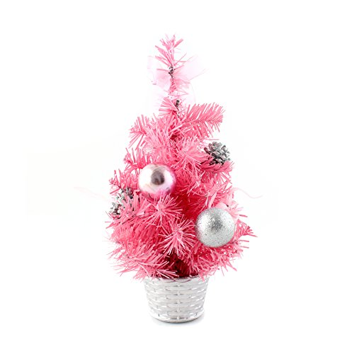IDS Home 12inch Mini Desk Top Table Top Decorated Christmas Tree with Bows & Baubles Ornaments Decorations, Pink