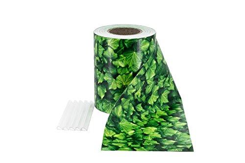 ILESTO PVC Sichtschutzstreifen für Doppelstabmatten – Sichtschutz für Ihren Gartenzaun & Doppelstabmattenzaun - 35m x 19cm inkl. 20 Clips – Blatt-Optik