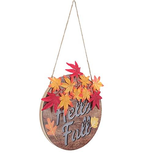 UKCOCO Placa de madera para puerta de Halloween y otoño, con luces y corona iluminada, señal de madera, guirnalda para casa, porche, decoración de jardín