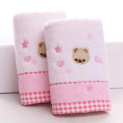 ZAIZAI 2 toallas de baño 100% algodón, diseño de oso de dibujos animados, jacquard, suaves, absorbentes, pequeñas, 25 x 50 cm (color: rosa)