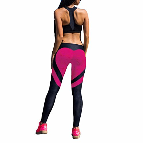 FITTOO Women's Heart Shape Yoga Pants Sport Pants Workout Leggings Sexy High Waist Trousers-Rose...