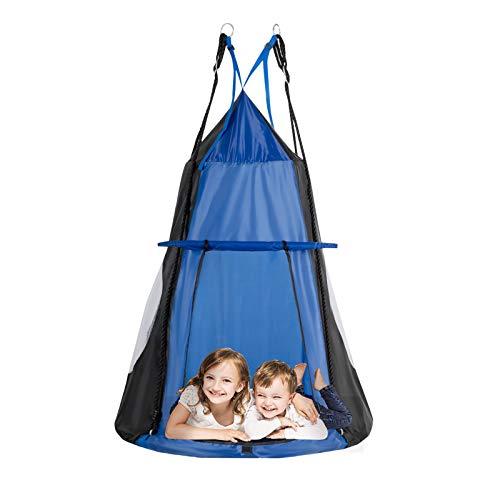 DREAMADE Nestschaukel mit Zelt, Hängezelt Höhenverstellbar Gartenschaukel, Schaukelnest Hängenest mit Tür Fenster, Tellerschaukel max.Tragfähigkeit 150kg, für Baum Garten Kinderzimmer (blau)