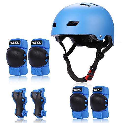 SKL Kids Protective Gear Set Age 6 13Toddlers Skateboard Helmet7 in 1 Adjustable Bike Helmets Knee Pads and Elbow Pads for Children BMX Skateboard Scooter Cycling
