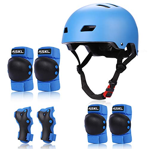 SKL Kids Protective Gear Set Age 6-13,Toddlers Skateboard Helmet,7 in 1 Adjustable Bike Helmets Knee Pads and Elbow Pads for Children BMX Skateboard Scooter Cycling
