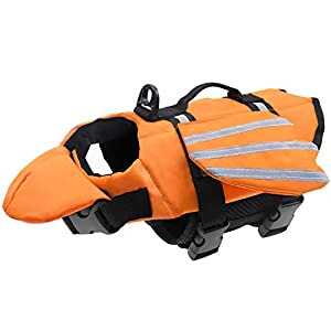 Malier Dog Life Jacket, Unique Wings Design Pet Flotation Life Vest for Small, Middle, Large Size Dogs, Dog Lifesaver Preserver Swimsuit with Handle for Swim, Pool, Beach, Boating (M, Orange)