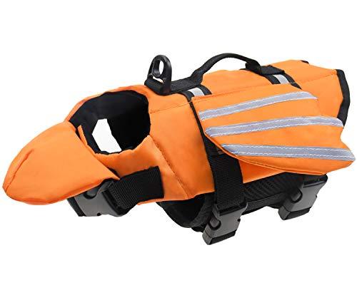 Malier Schwimmweste für Hunde, einzigartiges Flügel-Design, Schwimmweste für kleine, mittelgroße und große Hunde, Rettungsweste mit Griff für Schwimmen, Pool, Strand, Bootfahren (XL, Orange)