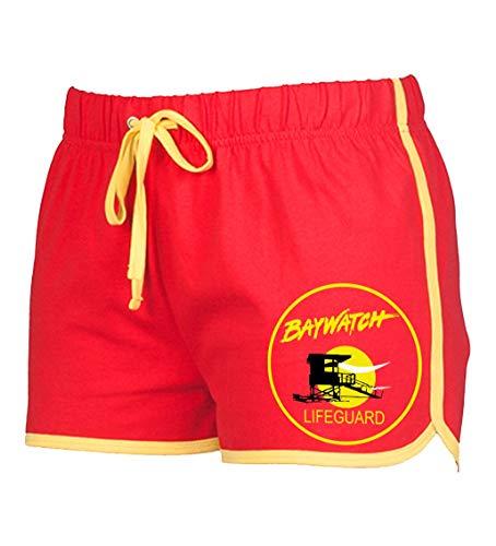 Artshirt Factory Baywatch Damen Shorts (Rot/Gelb, S)