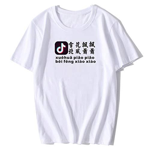 GL SUIT Xue Hua Piao Piao Lyrics Print Top Rundhals Kurzarm Brief Unisex Casual Inspirierend T-Shirts für Männer und Frauen, 2020 Tiktok Net Egg Man,Weiß,XXXL