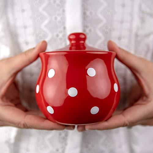 City to Cottage® - Keramik Geschirr Zuckerdose | Rot und Weiß | Polka Dots | Handgemacht | Keramik Zucker Schälchen 285 g