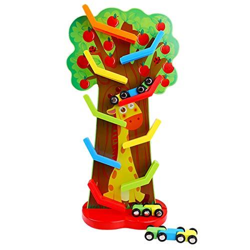 WFF Spielzeug Bunte Bahn Auto aus Holz - Kleinkind Parkplatz Garage Inklusive 6 Racing Cars, mit Drehzahlrampe (Color : Fruit Tree Glider)