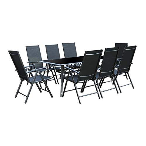 CONCEPT USINE - Salon de Jardin Aluminium et Textilène 8 fauteuils + Duo Transats Textilène Noir