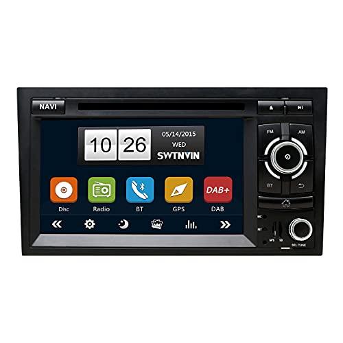 SWTNVIN Built-in Dab+ Autolink Radio de Coche Estéreo GPS Navegación Fits for Audi A4 S4 RS4 Seat Exeo Bluetooth 5.0 Unidad Principal 7 Pulgada HD Touch Screen En el Tablero SWC DVD FM USB SD