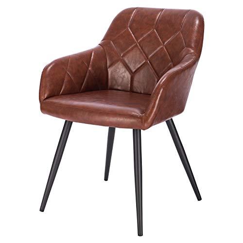 EUGAD 0636BY-1 1 Stück Esszimmerstuhl Wohnzimmerstuhl aus Kunstleder Polsterstuhl mit Armlehnen und Rückenlehne Gestell aus Metall Braun