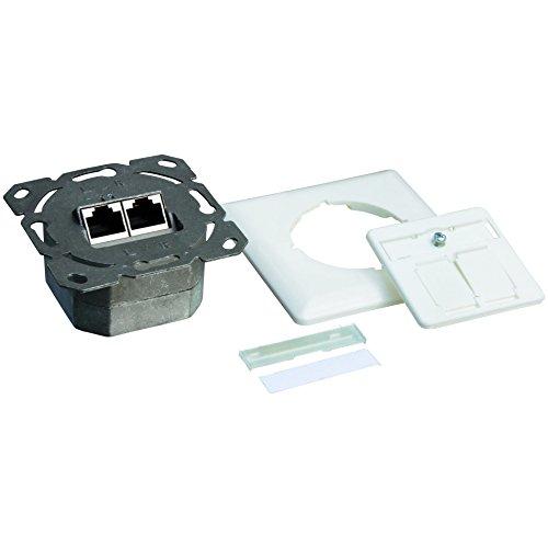 LogiLink Professional NP0123 RJ45 Cat6A Anschlussdose Unterputz 2x RJ45 Stp Vollgeschirmt mit 40 Auslass