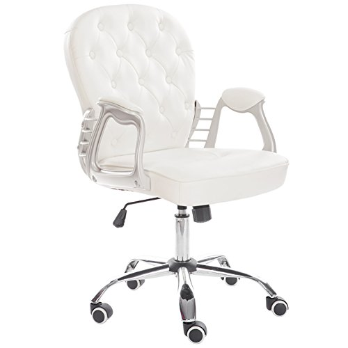 Warmiehomy, Sedia da ufficio girevole con schienale, regolabile, in pelle di poliuretano, super imbottita White
