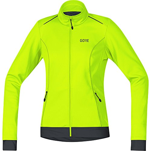 GORE Wear Damen Winddichte Fahrradjacke, C3 Women GORE WINDSTOPPER Thermo Jacket, 40, Neon-Gelb/Schwarz, 100328