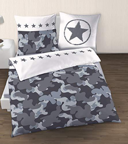 Camouflage Bettwäsche Renforce Baumwolle · Sterne & Camo · Tarnlook grau, Silber, anthrazit ·1 Kissenbezug 80x80 + 1 Bettbezug 135x200 cm