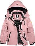 GEMYSE Girl's Waterproof Ski Snow Jacket Fleece Windproof Winter Jacket with Hood (Coral Pink,10/12)