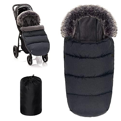 Zamboo Universal Thermo Fußsack mit Fell für Buggy Kinderwagen - Kinder Winterfußsack für 3-Punkt und 5-Punkt-Gurt, mit Kapuze und Fleece Futter - Dunkelgrau
