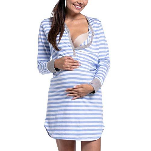 Vestido de Lactancia Maternidad Botones Rayas Manga Larga Camisón Embarazada Ropa de Dormir Premamá Pijama de Noche Mujer