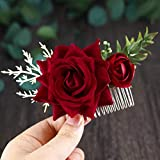 Yemruode Silver Wedding Red Rose Flower Hair Comb Bridal Floral Hair Headpiece for Brides and Bridesmaids for Brides and Bridesmaids
