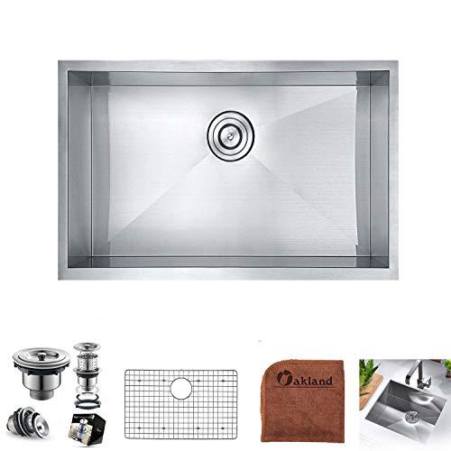 Oakland 27-inch Undermount Stainless Steel Kitchen Sink Single Bowl 90 Degree Zero Radius