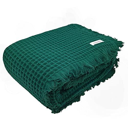 Bademayer Kuscheldecke Tagesdecke Pique-Decke 150 x 200 cm. aus 100prozent Baumwolle 350 g/m² - (Grün)