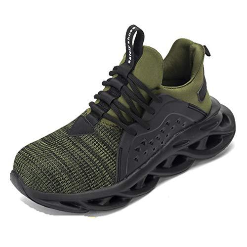 Zapatillas de seguridad para hombre, zapatos de trabajo con punta de acero, zapatillas deportivas de seguridad Verde Size: 39 EU