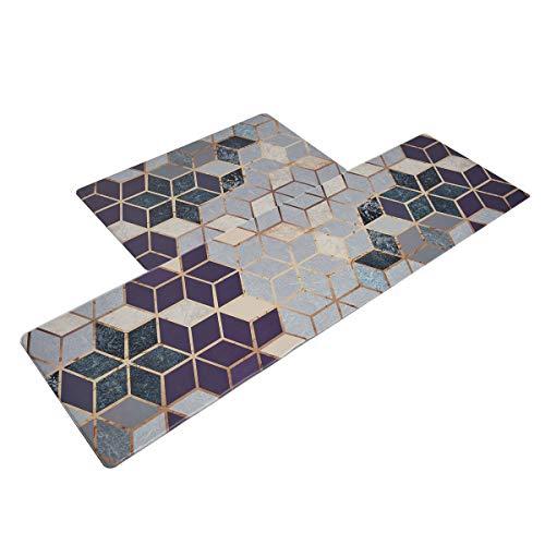 U'Artlines Anti Fatigue Kitchen Floor Mat, Comfort Heavy Duty Standing Mats, Waterproof PVC Non Slip Washable for Indoor Outdoor (18x30+20x55Inch, Purple)