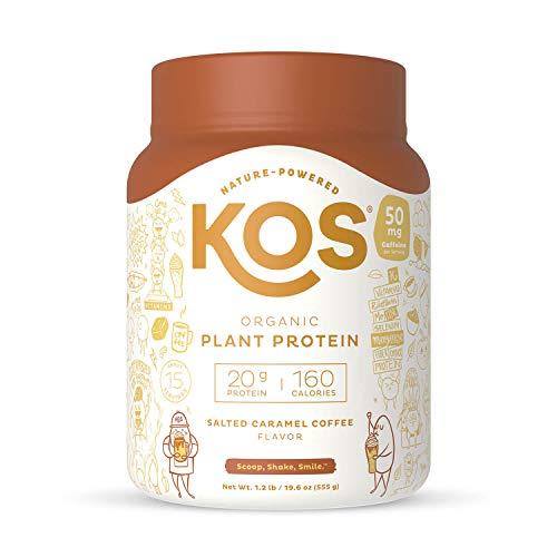 KOS Organic Plant Based Protein Powder, Salted Caramel Coffee - Delicious Vegan Protein Powder - Gluten Free, Dairy Free & Soy Free - 1.2 Pounds, 15 Servings