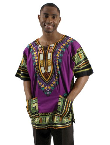Traditional Thailand Style Dashiki - Available in Several Color Combinations (Purple)