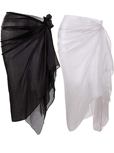 Hestya Women Pareo Swimsuit Beach Swimwear Wrap Gradient Color Bikini Sarong (White, Black)