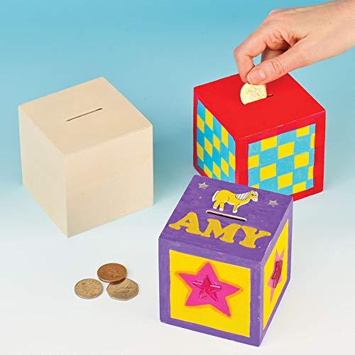 Baker Ross Huchas Madera Forma Cubo Diseñar Pintar