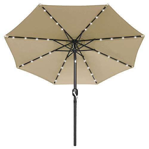 MASTERCANOPY Patio Umbrella with 32 Solar LED Lights for Outdoor Market Table -8 Ribs (7.5ft,Khaki)
