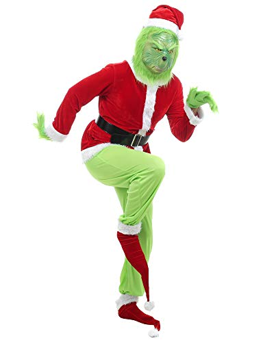 Obavioy Mens Grinch Costume 8pcs Christmas Party Cosplay Adult Santa Suit Green Outfit Large