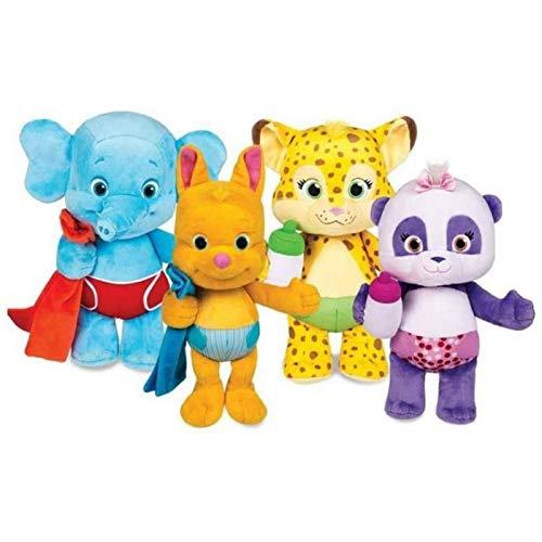 DINGX Plüschtiere 25cm Party Plüschtiere niedliche Comicfiguren Plüschpanda Elefant Leopard Känguru Kuscheltier Puppen Geburtstagsgeschenke für Kinder / 4St Chuangze