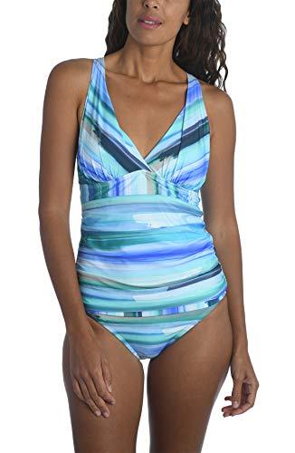 La Blanca Women's Standard V-Neck Halter Tankini Swimsuit Top, Pacific Blue//Ocean Tides, 16