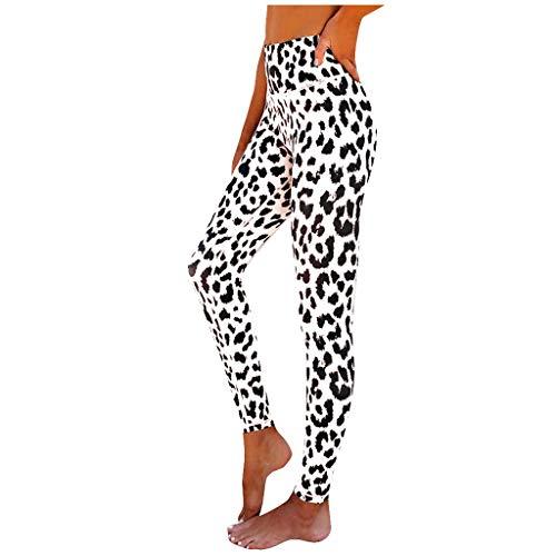 Lenfeshing Pantalón Deportivo de Mujer Leopardo Sexy Cintura Alta Leggings Mallas para Running Training Fitness Estiramiento Yoga y Pilates