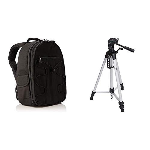 AmazonBasics - Mochila para cámara réflex y Accesorios, Color Negro + Trípode Ligero Completo (Bolsa, Cabezal panorámico de 3 Posiciones, Zapata rápida), Color Negro