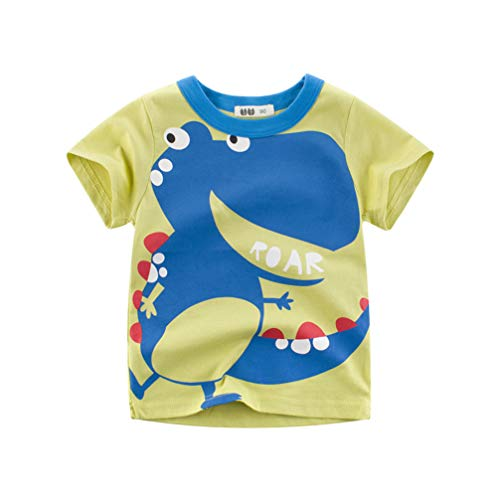 Unisex Baby T-Shirt Baumwolle Süß Karikatur Tier Muster Tops für 1-7 Jahre Alt (1-2 Jahre, Grün)