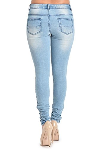 G-Style USA Women's Biker Style Ripped Zip Rider Jeans – RJL462 – BLUE – 1 – N4