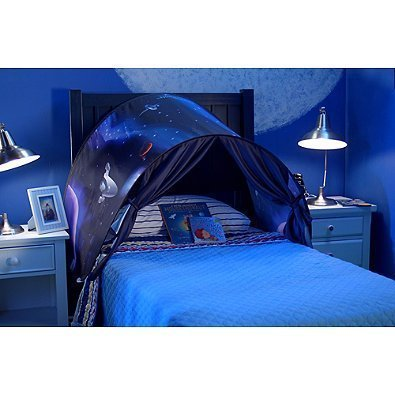Flyinghedwig Foldable Galaxy Starry Sky Dream Tent Kids Pop Up Bed Tent Fairy Playhouse Play Tent Bedroom Festival Decoration Tent (Space Adventure)