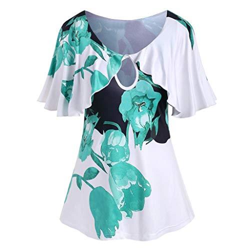 Review Moilant T Shirt Shirt Cute Floral Print T Shirt Top Plus Size Elegant Short Sleeve Blouse Tun...