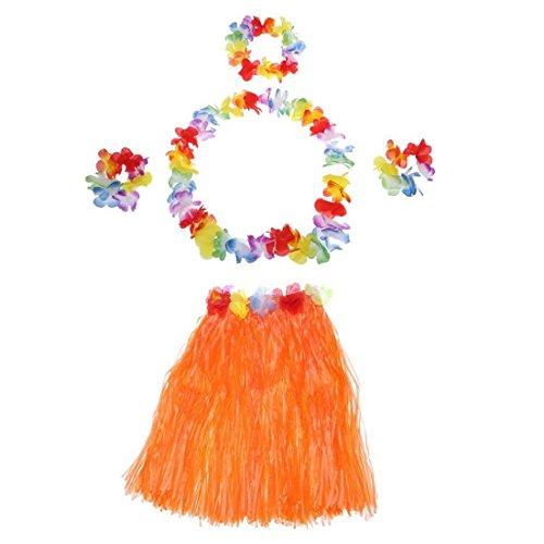 Gesh Juego de 5 faldas hawaianas hechas a mano, color naranja